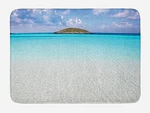 "Ambesonne 多色浴室脚垫 标准尺寸 Cream Turquoise 29.5"" W By 17.5"" L bath_13958"