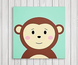 "Cute Little Animals 育儿墙装饰,婴儿房帆布艺术,*礼物 Monkey 11""W x 11""H 並行輸入品"