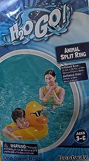 H2OGo Delightful 黄色鸭子分环泳池漂浮 适合 3-6 岁儿童 - 21.3 英寸 x 20.1 英寸 x 15 英寸