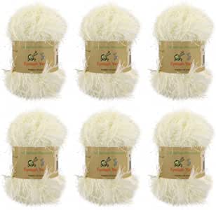 BambooMN 品牌 - 睫毛纱 - 50 克 - 41 种颜色选择 奶油色 6 Skeins 6955114950533a