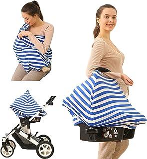 时尚妈妈哺乳巾 - 多用途围巾、汽车座椅套、购物车和婴儿车罩,柔软透气,有弹性的材料(蓝色,黑色和粉色) 蓝色