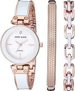 Anne Klein Women's Genuine Diamond Dial Watch and Bracelet Set, AK/3346
