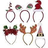 圣诞头带 - 6 条装假日派对配件、节日光牙道道具和装饰,6 种设计包括驯鹿鹿鹿鹿鹿、Elf 帽、圣诞帽、成人款
