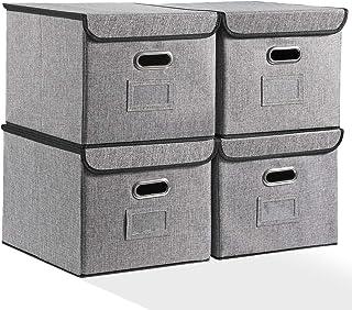 Flie 整理盒带盖子4件套带坚固手柄亚麻布文件收纳盒适用于办公信件,灰色