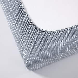 Chezmoi 系列针织(T 恤)棉床笠 - 超柔软透气深口达 40.64 厘米床单 Shadow Blue/Gray 两个