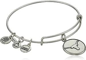 "Alex and Ani""Collegiate"" University of Texas Logo Expandable Rafaelian Silver Finish Wire Bangle Bracelet"