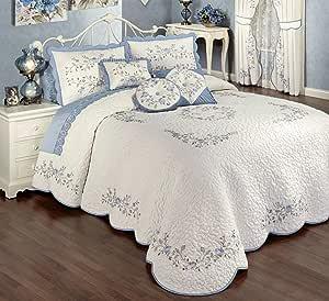 Touch of Class 复古魅力花卉超大绗缝床罩床上用品 蓝色(Dusty) Bedspread Grande King
