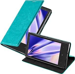 Cadorabo 保护套适用于诺基亚 Lumia 1020 书包(设计隐形闭合) - 带磁扣,支架功能和卡槽 - 钱包手机壳 Etui 封面 PU 皮DE-109610 PETROL TURQUOISE