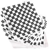 Avant Grub Deli 纸。 使用黑白方格食品包装纸,让您的后院烹饪派对变成一个特别活动。 防油 12x12 三明治包装防止食物污 黑色 12x12 Black Checked 300