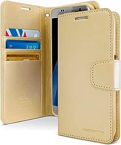 Galaxy S7 Edge 手机壳,[防摔] Goospery Sonata 日记高级软合成皮革[钱包式]手机壳【身份证/卡和现金插槽】适用于三星 Galaxy S7 Edge4326523147 SONATA Gold