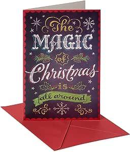 美式问候典雅黑板圣诞卡片盒装红色信封,14 张