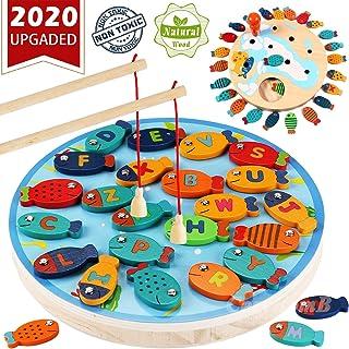 CozyBomB 磁性木制钓鱼游戏玩具适合幼儿 STEM 字母捕鱼计数板游戏玩具 适合 2 3 4 岁男孩 儿童 生日学习教育数学带磁铁杆