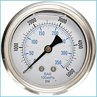 LIQUID FILLED 压力气体,6.35 厘米表盘,不锈钢表壳,黄铜连接,0.64 厘米磁环 NPT 后挂件连接,双伸缩 PSI 和杆 0-5,000 PSI 43235-14200