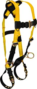 FallTech 7023 Journeyman, Standard, Non-Belted Full Body Harness - 3 D-Rings, Back and Side, Tongue Buckle Legs and Mating Buckle Chest, UniFit, Yellow/Black