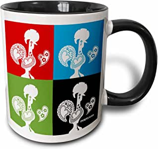 mug_160664 Belinha Fernandes - The Portuguese Rooster - Four portuguese roosters in black, red, blue and green color - Mugs 黑色/白色 21盎司
