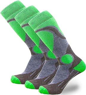 Elite 羊毛滑雪袜 男孩女孩 - 儿童美利奴羊毛青年滑雪 青少年 冬季保暖袜 3 Pairs - Neon Green 小号/中号