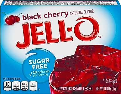 Jell-O Sugar-Free Gelatin Dessert, Black Cherry, 0.6-Ounce Boxes (Pack of 24)