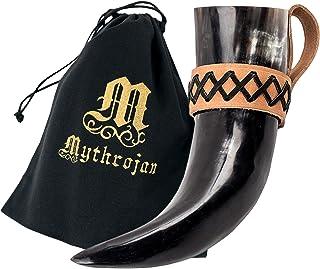Mythrojan 饮酒喇叭凯尔特皮革支架正品中世纪灵感维京酒杯