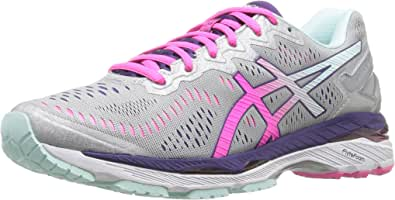 Asics Women's Gel-Kayano 23 Silver/Pink Glow/Parachute Purple Running Shoe 6 Women US