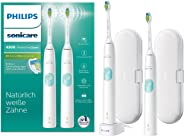 Philips 飞利浦 Sonicare ProtectiveClean 4300电动牙刷 HX6807/35 2个带Clean-Programme的声波震动牙刷 压力感应控制传感器 2个旅行收纳盒 充电座 白色