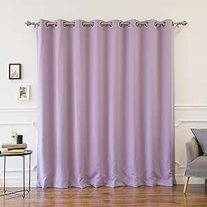 "Best Home 时尚保暖遮光窗帘 加宽金属扣眼 紫色(Lavender) 100""W x 96""L - (1 Panel) GROM_WIDE-100X96-LAVENDER"