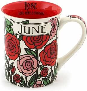 "Enesco 6000057 Our Name Is Mud ""June Birthday Flower"" Stoneware Coffee Mug, 16 oz, Red"