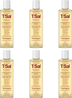 Neutrogena 露得清 T / Sal去屑洗发水,水杨酸控制头皮屑堆积,头皮护理针对头皮屑,头皮银屑病缓解,4.5液体盎司/133毫升(6件装)