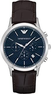 Emporio Armani Men's 'Dress' Quartz Stainless Steel and Brown Leather Dress Watch (Model: AR2494)