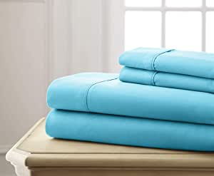 Spirit Linen Super Bright Collection Microfiber Sheet Set, King, Turquoise