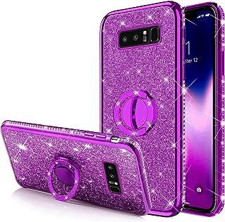 Galaxy Note 8 闪光手机壳,闪闪发光钻石水钻保险杠带环支架弹性软橡胶凝胶 TPU 保护套,女孩女士,紫色