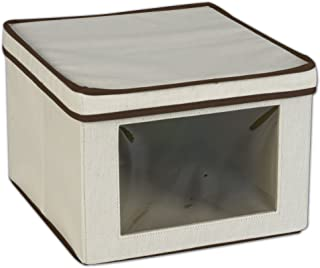 Household Essentials Vision Natural Canvas Storage Box, Brown Trim 天然 中