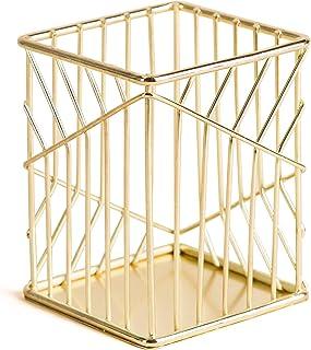 U Brands 金属铅笔杯,桌面配件,Vena 系列,金色