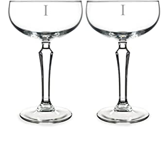 Cathy's Concepts Personalized Champagne Coupe Toasting Flutes, Monogrammed Letter-I, Clear, Set of 2