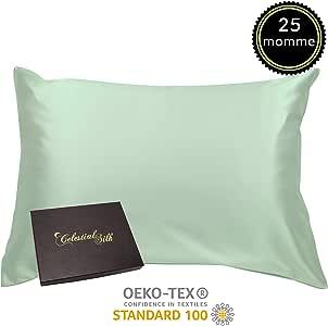 * 丝绸枕套带拉链奢华 25 姆米桑蚕丝绸缎缎双面丝绸 - 礼品包装- 薄荷绿 King COMIN18JU080375