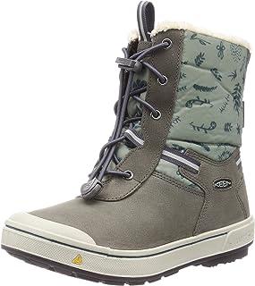 KEEN 大童 Kelsa 高筒防水雪地靴,磁铁/中国绿,6 BK (大童)美国