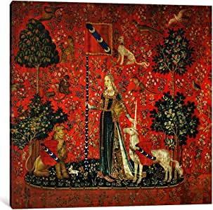 """iCanvasART BMN378-1PC3-12x12 Icanvas Lady and the Unicorn:""""Touch"""",12"""" x 0.75"""" x 12"""" 37"""" x 37""""/0.75"""" Deep BMN378-1PC3-37x37"""