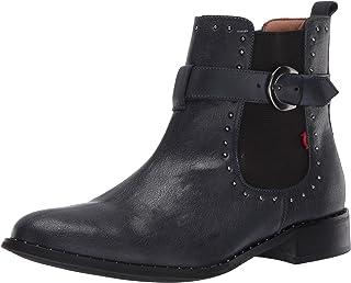 MARC JOSEPH NEW YORK 女式皮革切尔西靴,带扣和铆钉细节高帮皮马靴