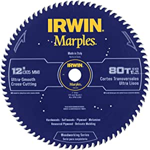 Irwin Tools 1807384 Marples Laser Cut 12-Inch 80-Tooth Hi-Alternate Tooth Bevel Circular Saw Blade