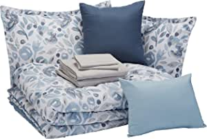 AmazonBasics 亚马逊倍思 8 件套 Bed-in-a-bag - 柔软易洗超细纤维 Blue Watercolor Floral Full/Queen BIAB3-BWF-FQ