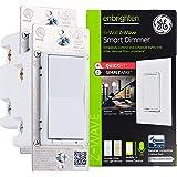 GE Enbrighten Z-Wave Plus 智能触摸面板调光开关,平滑无缝调光 White & Light Almond 47898