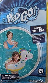 "H2OGo Delightful 独角兽分环泳池漂浮 适合 3-6 岁儿童 - 26"" x 19.7"" x 19.9"""