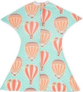 SleepingBaby 女孩拉鏈襁褓過渡期嬰兒襁褓毯帶拉鏈,舒適嬰兒襁褓包裹和嬰兒睡袋 熱氣球 Small 4-8 Month