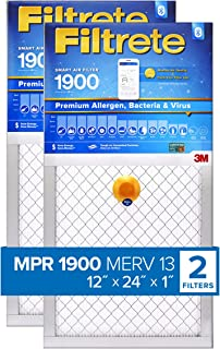 Filtrete 12x24x1 Smart Air Filter, MPR 1900, Premium Allergen, Bacteria & Virus AC Furnace Air Filter, 2-Pack