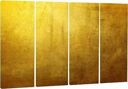 Designart 金色纹理墙纸抽象数字艺术金属墙壁艺术 - MT8410 28'' Hx48'' Wx1'' D 4P MT8410-271