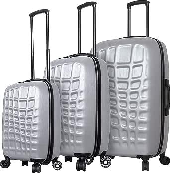 Mia Toro 意大利抽象鳄鱼硬侧行李箱 3 件套,银色