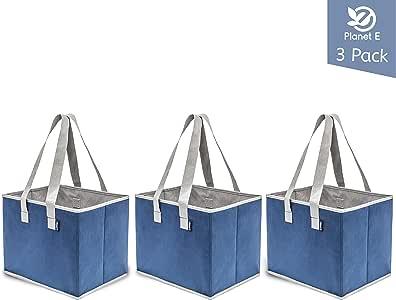 Planet E 可重复使用的杂货购物袋 - 大号可折叠箱,加固底部由再生塑料制成(3 件装) *蓝 均码 H1192_NVY