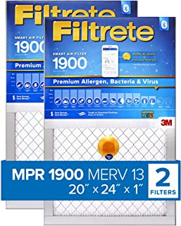 Filtrete 20x24x1 Smart Air Filter, MPR 1900, Premium Allergen, Bacteria & Virus AC Furnace Air Filter, 2-Pack - S-UT26-2PK-6E