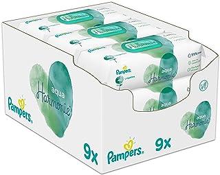 Pampers 帮宝适 Aqua 纯净婴儿湿纸巾,9包,48片,432婴儿湿巾由99%纯净水制成,经过皮肤测试