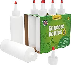 7 只装塑料挤压调味瓶 - 16 盎司(约 453.6 毫升)带红色尖盖 - 非常适合番茄酱、烧烤、酱汁、糖浆、调味品、艺术品和工艺品 - 不含双酚 A - 美国制造. 半透明 8oz 6 pack 43219-15149