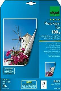Sigel InkJet 照片纸顶部,两面高光泽,高白色,双面打印,190 克,A4